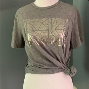 CK One Calvin Klein Grey Silver Shiny Graphic Tee